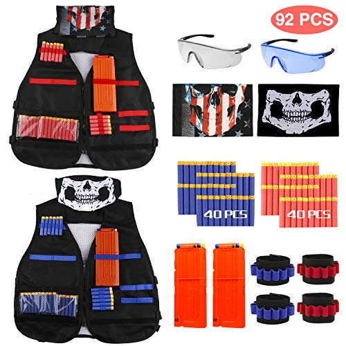 Gilet tattico, joylink 92 Pcs kit con gilet tattico per bambini 2 pezzi Red & Blue per le pistole Nerf Serie N-Strike Elite