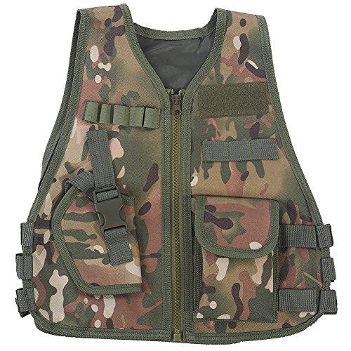 Gilet tattico per Bambini, Tipo Mimetico Guardia di Sicurezza per Bambini Gilet CS Field Combat Training Esercito Militare Vest(S-B)