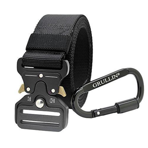 GRULLIN Cintura Tattica Resistente, Cintura Reggers Stile Militare, CQB Cintura con Fibbia Metallica a Sgancio Rapido con Moschettone con Chiusura a Vite in Alluminio