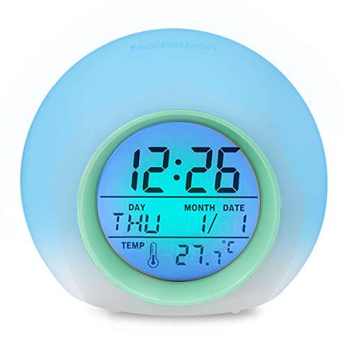 HAMSWAN Sveglia Digitale, Sveglia per Bambini, Sveglia con 7 Colori di Luci LED e 8 Tipi di Suoni