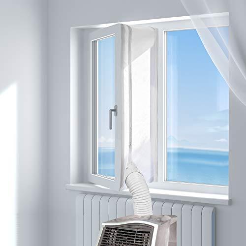 HOOMEE 300CM Guarnizione Universale per Finestre per Condizionatore Portatile, Asciugatrice -Per Tutti i Condizionatori Portatili, Facile da Installare - Con zip e Strappo