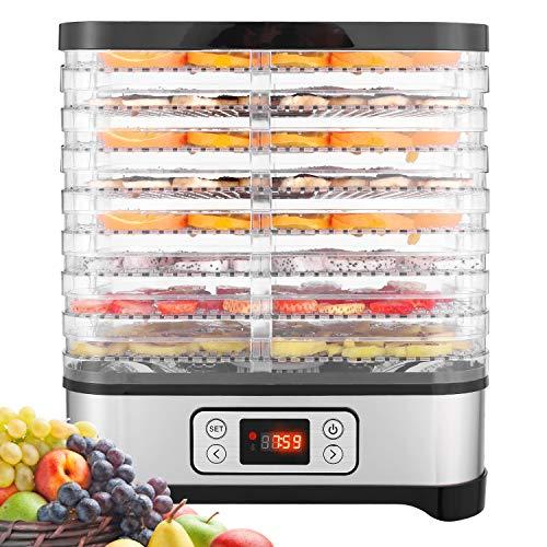 Hopekings Essiccatore alimentare, Essiccatore frutta e verdura, Temperatura Regolabile da 35-70℃, Essiccatori per alimenti, 8 Pallet, 400W, Nero