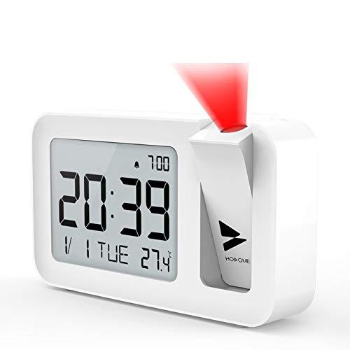 Hosome Sveglia con Proiettore, Alarm Clock Digitale con Temperatura Interna, 4 Luminosità di Proiezione Regolabile, Funzione Snooze a 9 Minuti, 12/24H Impostazione per Camera da Letto, Ufficio