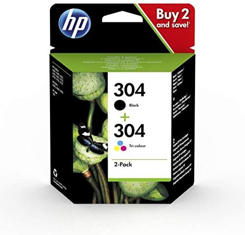 HP 304 3JB05AE Confezione da 2 Cartucce Originali per Stampanti HP a Getto di Inchiostro, Nero e Tricromia