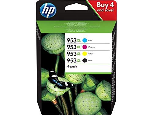 HP 953XL Cartuccia Originale Getto d'Inchiostro ad Alta Capacità, Nero + Ciano + Giallo + Magenta
