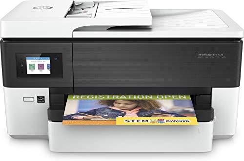 HP OfficeJet Pro 7720 Y0S18A, Stampante Multifunzione a Getto di Inchiostro per Grandi Formati A3 a Singolo Cassetto, Stampante, Scanner, Fotocopiatrice, Fax, Wi-Fi, Ethernet e USB, Bianca