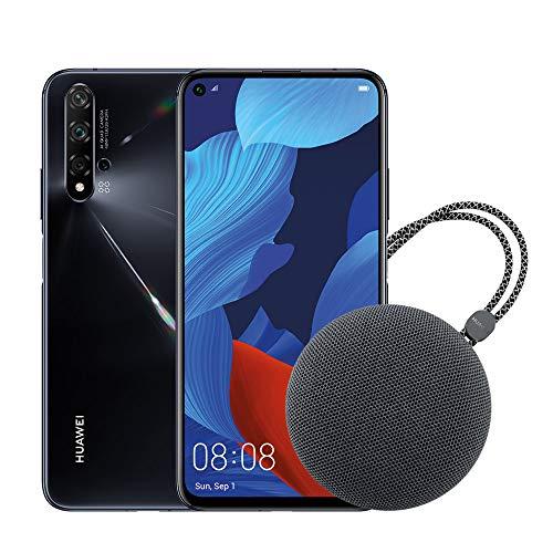 HUAWEI Nova 5T Smartphone e Speaker Bluetooth, 6 GB RAM e 128 GB ROM, Fotocamera Principale da 48 MP, Processore Kirin 980 con Intelligenza Artificiale, Nero [Italia]