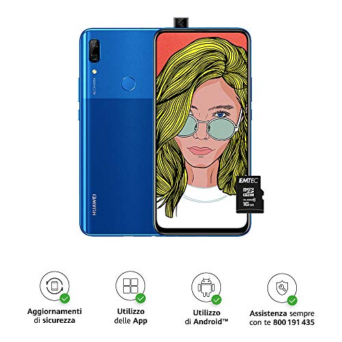 """HUAWEI P Smart Z Smartphone e MicroSDHC 16 GB, 4 GB RAM, 64 GB ROM, Display 6.59"""" FHD+, Doppia Fotocamera Posteriore 16+2MP, Fotocamera Anteriore 16MP a Comparsa Automatica, Blu [Versione Italiana]"""