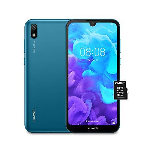 """HUAWEI Y5 2019 e MicroSDHC 16 GB Class 10, Smartphone con 16 GB, Display 5.71"""" HD+, Processore Quad Core, Blu [Versione Italiana]"""