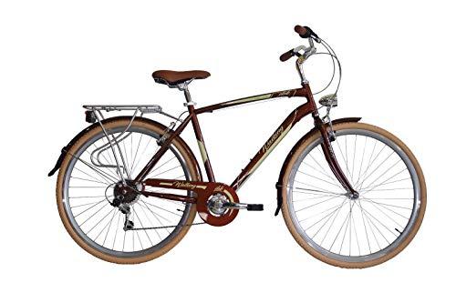 """IBK Bici Bicicletta City Bike da Città Uomo Misura 28"""" 700x38 Modello Walking Accessori Alluminio (Marrone)"""