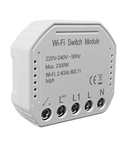 Interruttore WiFi wireless smart switch modulo da incasso compatibile Alexa, Google Home, Apple iOS, Android, IFTTT a controllo vocale per uso da uno o più punti anche con deviatore e invertitore