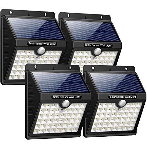 iPosible Luce Solare LED Esterno,【180° Super Luminoso-4 Pezzi】 46 LED Lampada Solare Esterno Luci Solari con Sensore Movimento Impermeabile 3 modalità Luci Esterno Energia Solare per Giardino,Patio