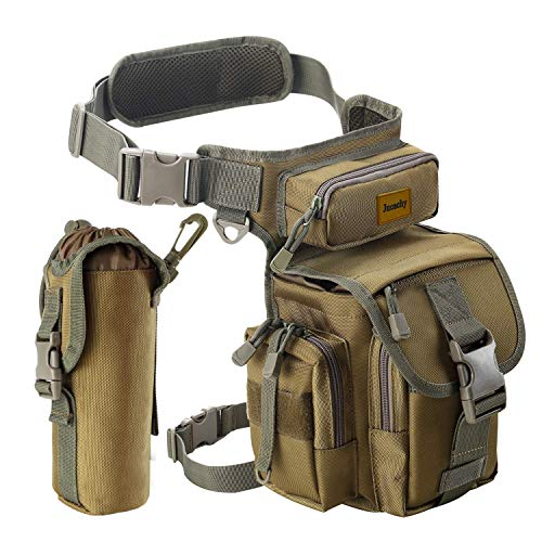 Jueachy Multifunzionale Drop Leg Marsupio, Militare tattico Coscia Hip Outdoor Confezione per Motociclismo Hiking Traveling Fishing Tool Pouch, Camouflage (Coyote Tan)