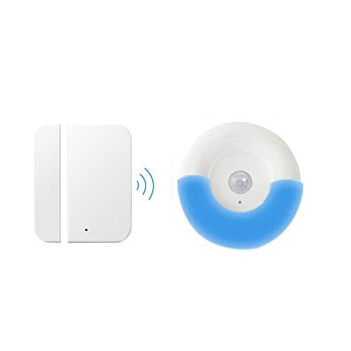 Kit Allarme Domestico, Allarme Sensore Campanello Yiroka Wireless 58 Campanelli 4 Volume, Funzionamento a Oltre 300 Piedi, Sicurezza Domestica, 1 Ricevitore +1 Sensore Campanello Porta Magnetico