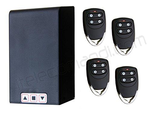 Kit centralina universale TM5886 con telecomandi per serrande avvolgibili e tapparelle, funziona su qualsiasi serranda fino a 1HP, ricevitore e telecomandi compresi, possibilità di collegare fotocellule o lampeggiante