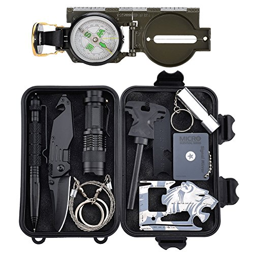 Kit di Sopravvivenza di Emergenza, Kit di Attrezzi per la Sopravvivenza Professionale Kit per Attrezzi da Sopravvivenza all'aperto per Viaggiare Escursionismo Mountain Bike Arrampicata Caccia