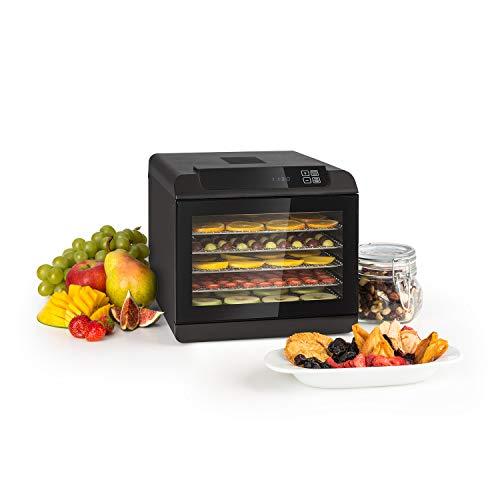 Klarstein Arizona - Disidratatore, Essiccatore di Carne e Frutta, Essicatrice, 500 Watt, 35-70 ° C, 6 Ripiani Lavabili in Lavastoviglie, Nero