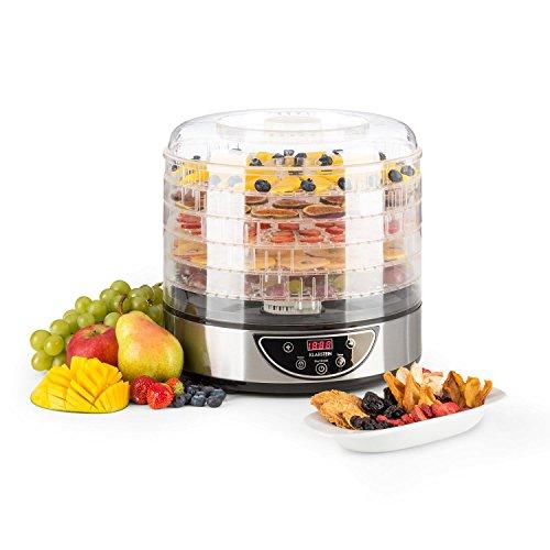 Klarstein Fruitower D - Essiccatore , 5 Ripiani , timer , dai 35 ai 70 °C , 200 - 240 Watt , ripiani e coperchio in plastica , Pannello touch , Display , conservazione delicata , Silver