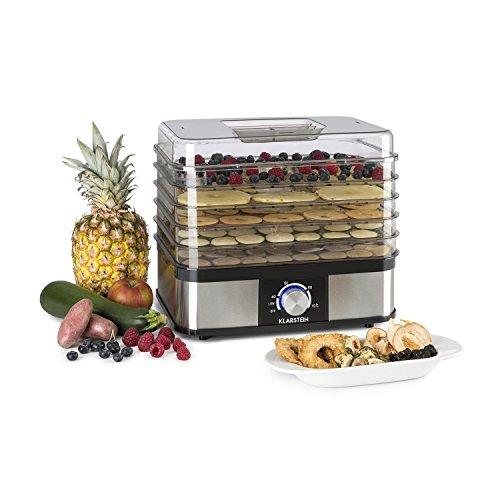 Klarstein Valle Deluxe • Essicatore per cibo • Essiccatore frutta a livelli • 5 ripiani • 250W • Temperatura regolabile • Bordo in acciaio inox • Facilmente smontabile • Facile da pulire • argento