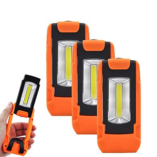 Lampada Ispezione Torcia da Lavoro a LED COB 3W Potente a Batteria Magnetica Portatile con Manico Pieghevole e Anello Appeso, Lot di 1 di Enuotek