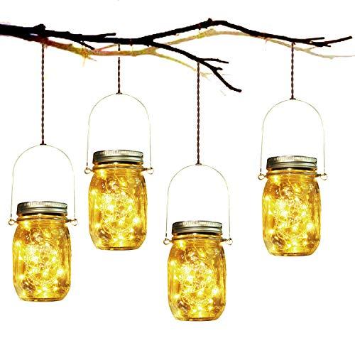 Lampada Solare, 4 Pezzi Lampade Solari Barattolo di Vetro Illuminante Impermeabile Lampade con 20 LED per da Esterno Giardino Giardino Feste Camera da Letto Decorazioni, Luce Bianco Caldo (4 Pezzi)