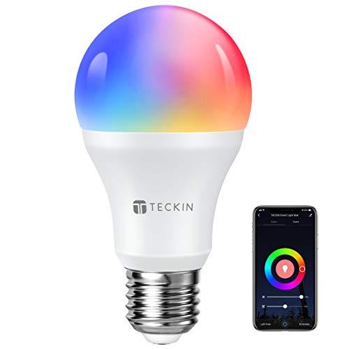 Lampadina Smart Con Luce Soffusa 2800k-6200k+RGBW, TECKIN A19 E27 WiFi Lampadina LED Multicolore Compatibile Con Cellulari, Google Home e IFTTT (non richiede HUB), 8W, 1 Pezzo