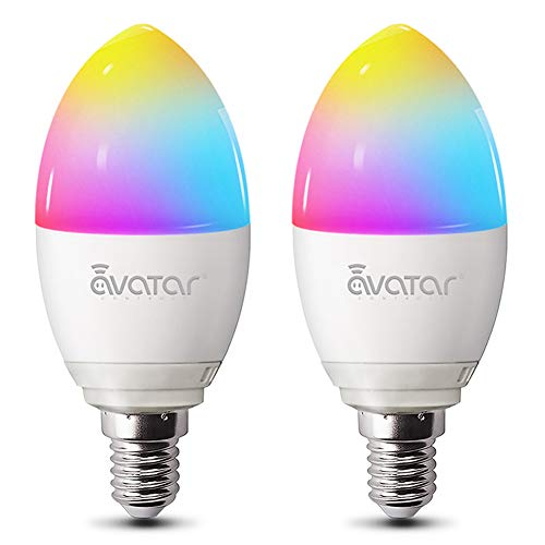 Lampadina Smart E14 WiFi Lampadine LED Alexa Intelligence 5W=40W 2800K RGBW Compatibile con Alexa/Google Assistant by Avatar Controls Multicolore Dimmerabile Nessun Hub Richiesto (2)