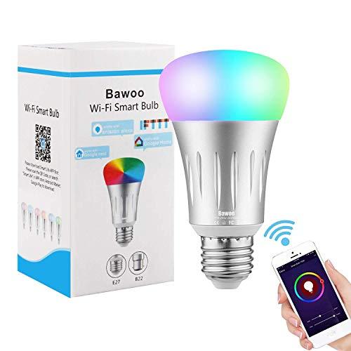 Lampadina Smart WiFi Lampadina Intelligente LED E27 RGBW, Bawoo Lampadina Wifi Lampadine Smart Bulb WiFi Comando Amazon Echo Alexa Google Home IFTTT APP Dimmerabile Luce Fredda Multicolore 16 Milioni