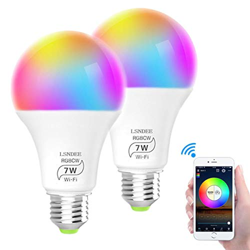 Lampadina Smart WiFi LED E27, LSNDEE 7W Lampadina Intelligente, Light Bulb Colorate Dimmerabile, RGB + Bianco+Bianco caldo, Compatibile con Alexa, Google Home e IFTTT - 2 Pezzi (Bianco)