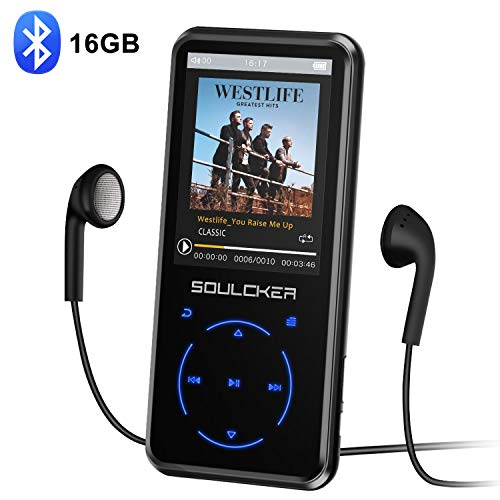 Lettore MP3,16GB Bluetooth Portatile Lossless Sound MP3 Lettore Musica, Digital Audio MP3 Player con Radio FM/Registratore Vocale, Supporto Espandibile Max Fino a 128GB (Cuffie e Bracciale Inclusi)