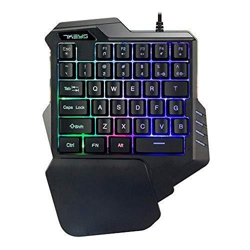 Lexon tech Tastiera da Gioco USB a Una Mano G30, 35 Tasti cablati con retroilluminazione a LED Arcobaleno, Mini Tastiera da Gioco Portatile a Una Mano, Design ergonomico con poggiapolsi (Nero) (G30)
