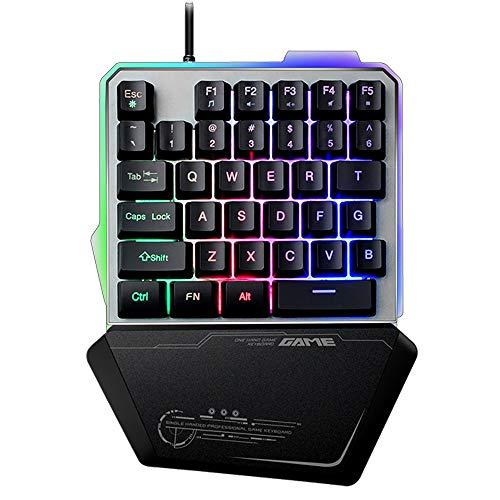 Lexon tech Tastiera da Gioco USB a Una Mano G40, 35 Tasti cablati con retroilluminazione a LED Arcobaleno, Mini Tastiera da Gioco Portatile a Una Mano, Design ergonomico con poggiapolsi (Nero)