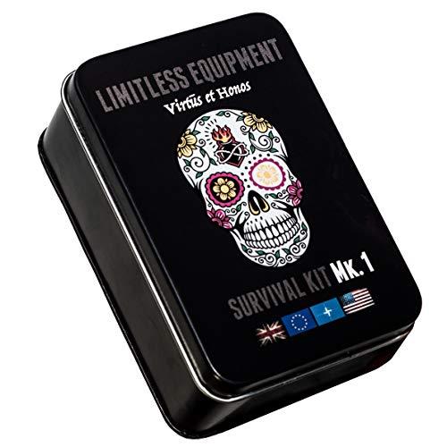 Limitless Equipment Kit di sopravvivenza Mark 1: Fatto nel Regno Unito, misura tascabile, marcia a livello professionale. 40+ articoli.
