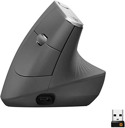 Logitech MX Vertical Mouse ergonomico avanzato cablato e wireless per un minore sforzo muscolare, superficie in gomma