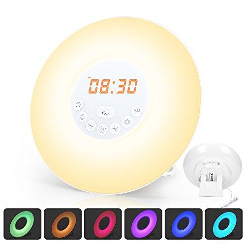 Luce Notturna di Sveglia per Comodino Wake up Light con FM Radio Simulazione dell'alba e del Tramonto, Funzione Snooze, 10 Livelli Luminosità, 7 Colori di LED