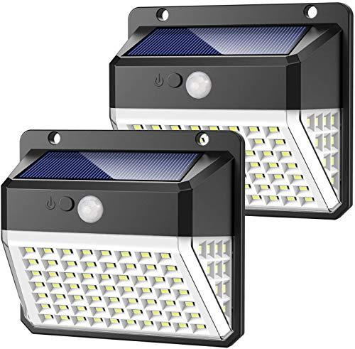 Luce Solare Esterno, Yacikos Super Luminoso【270º Illuminazione 】82 LED Lampada Solare con Sensore di Movimento Luci Solari da Parete Impermeabile Illuminazione Solare LED con 3 modalità per Giardino