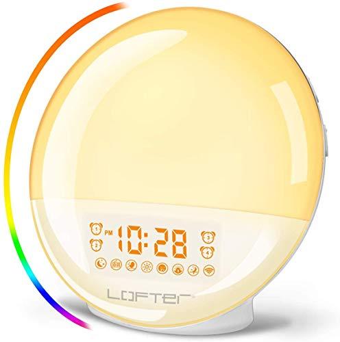 Luce Sveglia Alba WiFi LOFTer Wake Up Light LED Intelligente Lampada da Comodino Radiosveglia Digitale Compatibile con Alexa Echo e Google Home con Doppia Sveglia, Radio FM, 7 Colori Dimmerabili