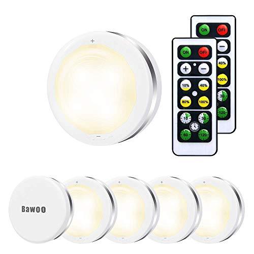 Luci Armadio Luce Notturna Lampada Armadio LED Bawoo 6PCS LED Lampada da Parete 5 Perle LED Lampada Adesiva Cordless Bianco Caldo a Pile con 2 Telecomando Vetrine Credenza Guardaroba Corridoio Cucina