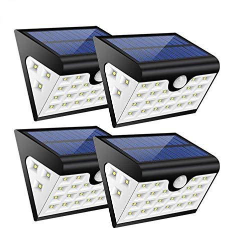 Luci Giardino Energia Solare,Luce Solare led Esterno,Lampade Solari a led da Esterno con Sensore Movimento,28 led,300 LM,Illuminazione a Tre Lati, Cavo USB per la Ricarica,Orario di Lavoro: 8-10 ore