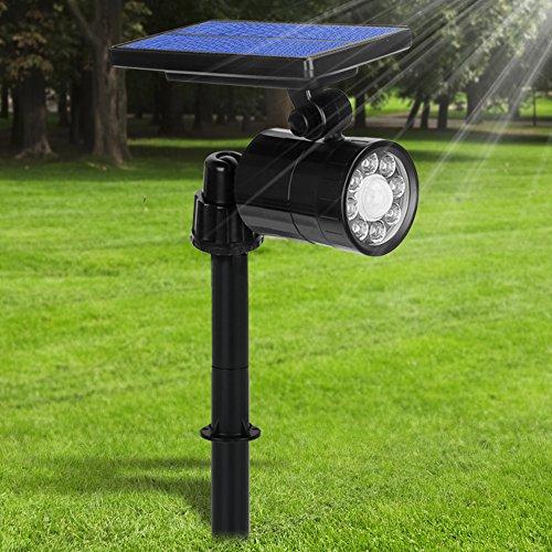 Luci Solari 8 LED 800LM Ultra Luminoso, Lampada Solare da Esterno con Sensore di Movimento, Illuminazione Giardino 4 Modalità, 360° Regolabile, Orario di Lavoro10 Ore, per Prato Muro Giardino