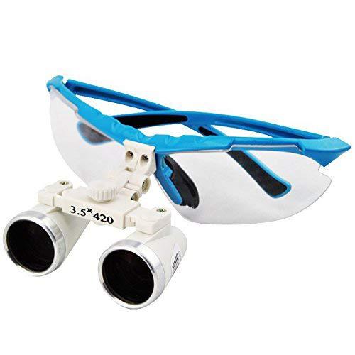 Magnifier Occhiali Binoculari Chirurgici 3.5X 420mm Distanza di Lavoro in Vetro Ottico con Lampada A LED Head Light + Alluminio Fauay