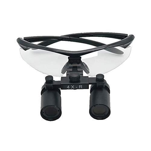 Magnifier Occhiali da Dentista con Binocoli 4 X 420mm Lente Vetro Ottica Occhiali di Regolazione A Due Telaio