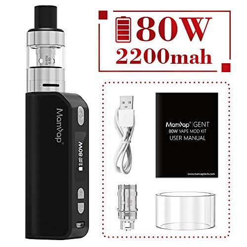 Manvap® Gent 80W Sigaretta Elettronica Box Mod Svapo Kit, Ricaricabile 2200mAh Batteria/Top Fill 2.0ml Atomizzatore,No Nicotina, No Liquido Elettronico(Nero)