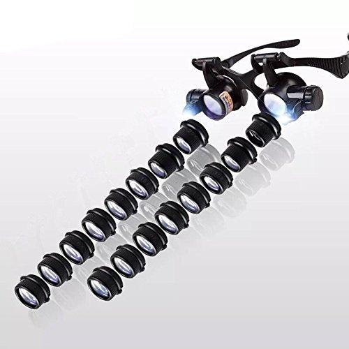 Miaozaigou Orologio di Riparazione della Lente d'Ingrandimento di Manutenzione di Vetro con l'identificazione del timbratura binoculare a LED HD