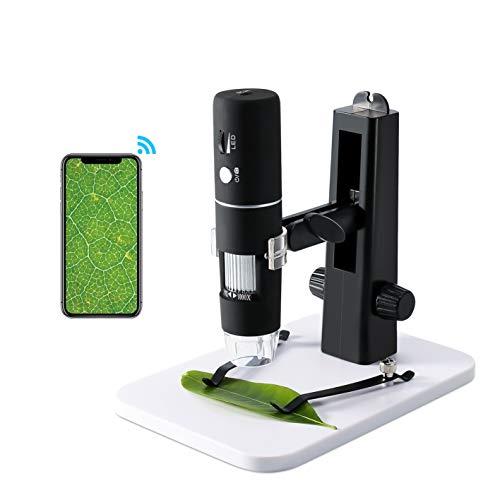 Microscopio digitale, Microscopio USB ROTEK WiFi Fotocamera 1000x Zoom 1080P HD con supporto professionale, Mini microscopio tascabile con 8 LED per iPhone IOS Telefono Android ipad Windows, MAC