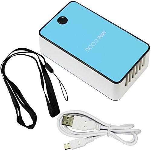 Mini condizionatore d'aria di viaggio Handheld USB ricaricabile ventilatore per l'estate (blu) di raffreddamento