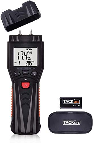 Misuratore di Umidità, TACKLIFE MWM03 Termometro Igrometro Digitale, Termoigrometro Misura la umidità del Materiali da costruzione, Umidità del legno, Calibrazione manuale, LCD retroilluminato