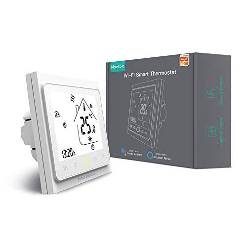 MoesGo termostato Smart WiFi con controllo della temperatura per impianti di riscaldamento con boiler a gas, compatibile con l'app Smart Life/Tuya, Alexa e Google Home