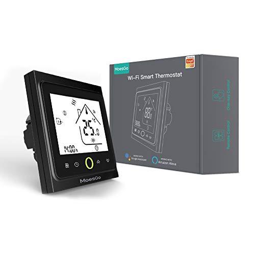 MoesGo termostato Smart WiFi programmabile con controllo della temperatura per impianti di riscaldamento ad acqua, compatibile con l'app Smart Life/Tuya, Alexa e Google Home (Nero)