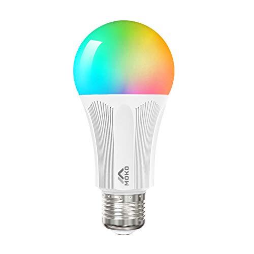 MoKo Lampadina Intelligente Smart Lampadina LED WiFi Controllo Remoto, Funzione Timer, da 9 W E27 Lampadina per Alexa Echo, Google Home e IFTTT, Nessun hub richiesto - Bianco